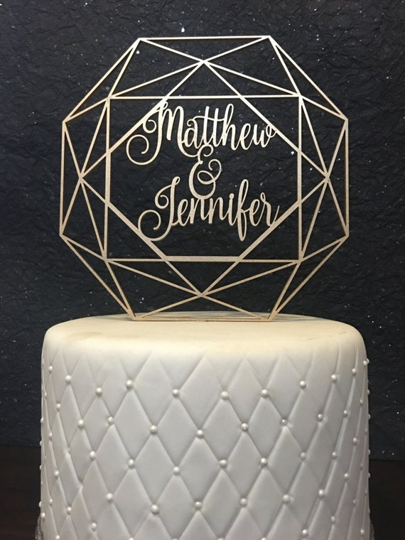 Custom Name Cake Topper, Wedding Cake Topper, Geometric Cake Topper, Geometric Wedding, Custom Geometric Wedding Cake Topper, Custom Names