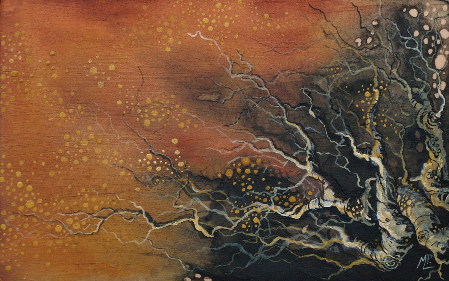 Watercolor painting on wood abstract nature art fire water for Abstract nature painting