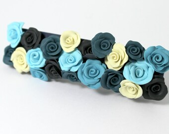 Hair Clip with blue and ivory roses, hair clips handmade polymer clay , romantic gift idea, bridal style boho chic marriage