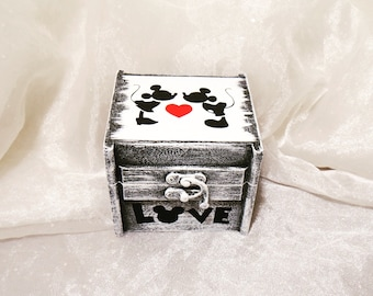 Mickey and Minnie Mouse Ring Bearer Ring Box, Ring Pillow Alternative, Disney Wedding Ring Box, Ring Bearer Ring Box, Keepsake Ring Box