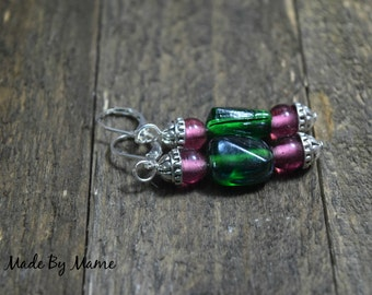 Boho Lampwork Glass Bead Stack Earrings, Purple and Green Salvaged Glass Beads, Bohemian, Gypsy, Hippie, Earthy, Tibetan Silver, Oxidized