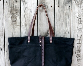 FOURTOWN TOTE BAG | Black Deluxe | Large Canvas Tote Bag | Leather Straps | Interior & Exterior Pockets | Lifetime Guarantee