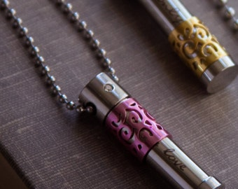 Pink Essential Oil Steel Small Necklace