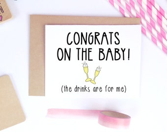 Funny Pregnancy Card, New Mom, New Baby, Baby Shower, Expecting