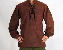 MERCHANT Shirt High Collar STONE BROWN - Renaissance Clothing, Steampunk Shirt, Pirate Costume, Viking Tunic, Medieval Costume