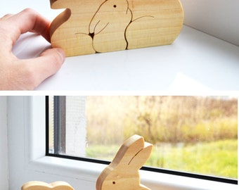 Easter Kids gifts bunny - Wood rabbit - Wooden Puzzle bunny - easter decorations - montessori toys - Kids gifts - rabbits family