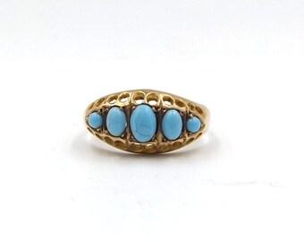 Antique 9ct Gold Turquoise Ring | Ladies 9k Eternity Ring | UK size N - US size 6 3/4 | Hallmarked 9 Carat 1915