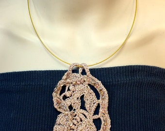 On Sale!-Gold in the Desert Sand Free-form Crochet Necklace