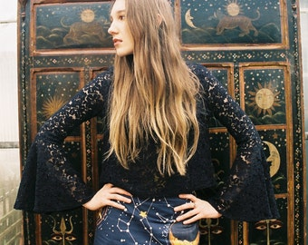 Black Lace Bell Sleeve Cropped Top