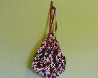 Drawstring Tote/Bag/Purse - Crochet Multi-Color
