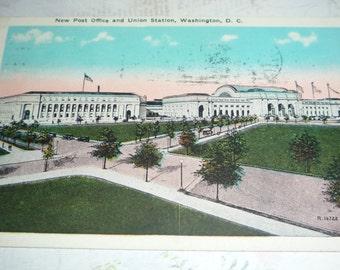 New Post Office and Union Station, Washington, DC, Vintage Prelinen Postcard