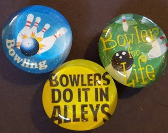 Set of 3 Strong Glass Magnets, Bowling, Bowler, Bowling Alley, Balls, Colorful Refrigerator Magnets, Kitchen, Office Decor, Fridge Art