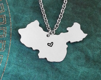 China Necklace China Jewelry China Pendant Country Necklace Chinese Gift Long Distance Relationship China Charm Personalized Heart Necklace