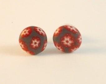 Flowers stud earrings. Polymer clay button earrings. Handmade design earrings. Unique floral stud earrings. Polymer clay millefiori earrings