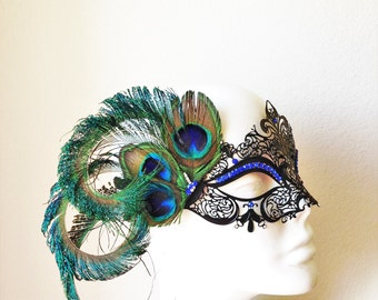 Feather Masquerade Mask, Womens Mask with Feathers, Peacock Feather Masquerade Mask, Feather Masquerade Ball Mask, Feather Rhinestone Mask
