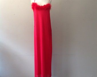 M/L / Nylon Nightgown with Fur / Red / Long Night Gown Slip Dress Lingerie / Large