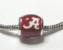 College Spacer / Charm -Alabama Crimson Tide Football Charm--Awesome Charm-Fits Pandora Bracelet and all other European Bracelets