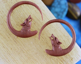 Wolf Ear Hangers for 3mm Stretched Ears -  Hand Carved 8g Ear Stretchers 8 Gauge Plug Earrings - 8g Carved Wood Wolf Plug Hangers - A057