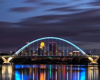 Lowry Avenue Bridge Reflection #2, Minneapolis, Minnesota, City Lights, Mississippi River, Portrait - Travel Photography, Print, Wall Art