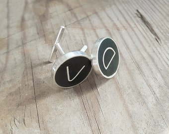 Personalized cuff links, Sterling silver and black enamel groom cufflinks, Initials minimal groomsmen monogram cuff links