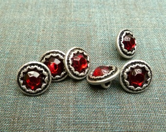 Metal buttons, antiqued silver colored, sparkling red glass, set of 6, 13 mm, 0,51 inches, Dirndl, Boho!