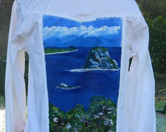 Hand Painted Jacket Denim style white with Islands scene.  Original One Only