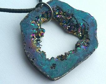 Adjustable Rainbow Titanium Druzy Necklace