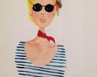 Watercolor Portrait - Glam Lady - Original Painting - 5x7