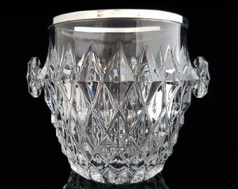 Vintage Lead Crystal Ice Bucket, Wine Cooler with Handles, Ice Container / Mid Century Art Deco Barware