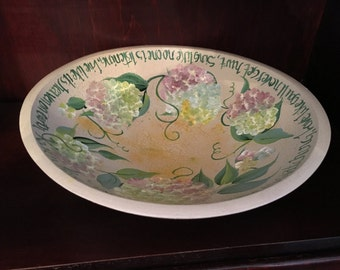Hand Painted Wood Bowl, Floral Painted Wood Bowl, Hydrangeas, Crackled Paint, Signed, Dance Like No One is Watching, William Purkey Quote