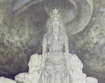 Snow Queen vintage art nouveau print illustration folk tale fairy tale Hans Andersen Edmund Dulac 8.5x11.5 inches
