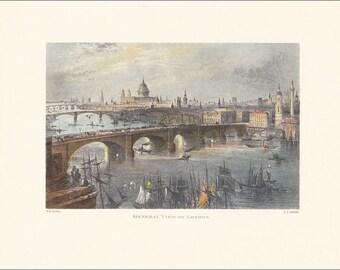 London River Thames bridges Victorian London vintage print coloured engraving 7 x 9.25 inches