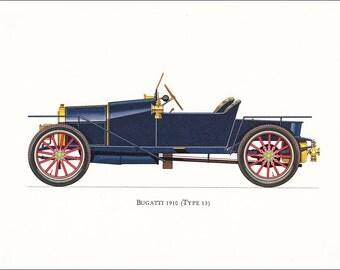 Bugatti Type 13 1910 French veteran car motoring blue vintage print illustration home office décor boy's nursery 9.5 x 7 inches