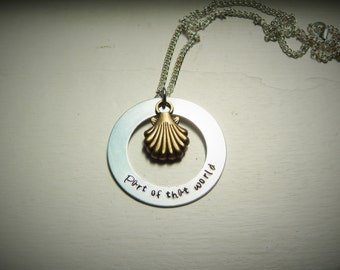 Part of that world, hand stamped necklace