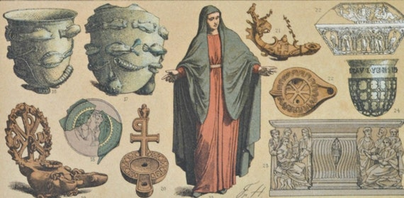 Roman clothes, vessels and sculptures  in the principles of Christianity. Antique print,1894.  121 years old print.  11,5 x 8,4 inches.