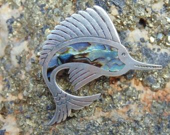 Maricela ~ Vintage Sterling Silver and Abalone Marlin / Sailfish Pin