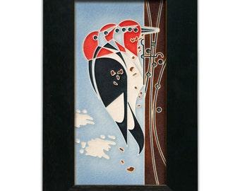 """Motawi tile """"Headbanger,"""" 4"""" x 8"""" Framed Charley Harper Motawi Tile"""