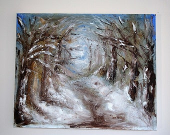 Snowy Forest Path in Oil on Stretched Canvas 60cmx48cm