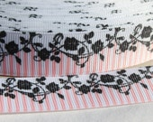 Pink and Black Chic 7/8 Inch Grosgrain Ribbon by the Yard for Hairbows, Scrapbooking, and More!!
