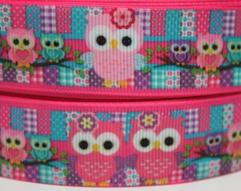 Pink Owl Ribbon 1 Inch Grosgrain Ribbon by the Yard for Hairbows, Scrapbooking, and More!!