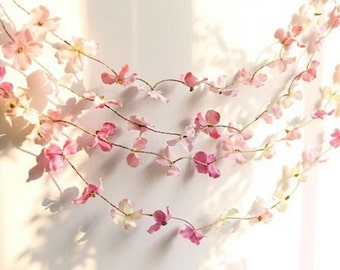 Rustic Flower Garland - Hydrangeas Flower Pedals (Different Colors Available)