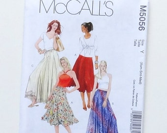 McCalls Ankle or Calf Length Skirt with Drawstring Waist Sewing Pattern #M5056 - Size Y - Xsm (4-6) + Sm l(8-10) + Med (12-14) - UNCUT F/F