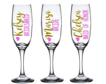 5 Personalized Bridesmaid Champagne Glasses, Bridesmaid Toasting Flutes, Bridesmaid Gift