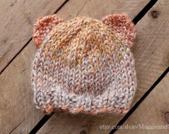 Bear Hat Newborn, Newborn Knit Hat, Alpaca Hat, Photo Prop, Newborn Hat, Newborn, Knit Hat, Newborn Animal Hat