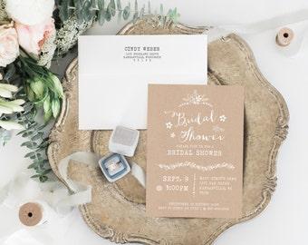 TEMPLATE Kraft Bridal Shower Invitation, Rustic Printable Wedding Shower Invitation, Editable Text, Digital Kraft Invitation, PDF File, 005