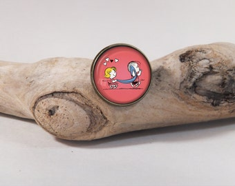 From Charlie Brown, Sally & Linus pin 20 mm diam. Glass dome on pin