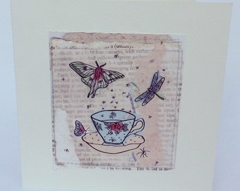 Handmade Collage Illustration Print Surreal Tea Cup Greeting Card Blank inside