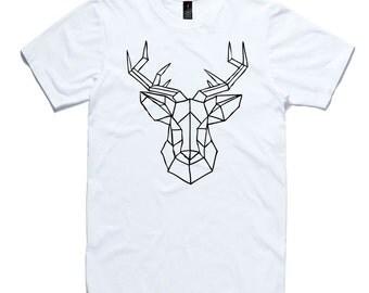 Stag Head T-Shirt by RockPaperHeart in black or white origami geometric antlers deer