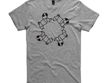 Chasing Pugs T-Shirt by RockPaperHeart in grey, pug origami mens and womens gray