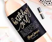 Custom Birthday Wine Label - Custom Wine Label - Personalized Wine Label - Birthday Girl Wine Bottle Label - 21st Birthday Dirty Thirty
